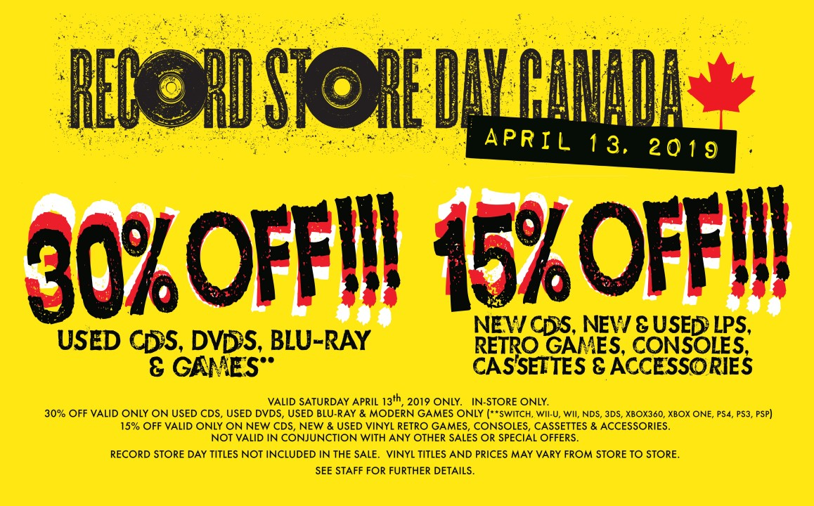 Record Store Day Sale 30% off All Used CDs, DVDs & Games